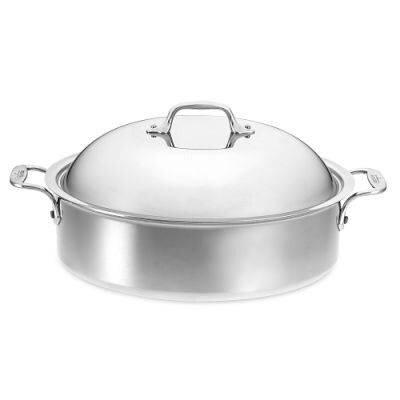 allclad 6 qt stainless steel round braiser with lid u0026 reviews wayfair
