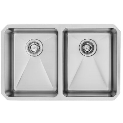 vigo alma 29 inch undermount double bowl 16 gauge stainless steel kitchen sink with two grids and two strainers u0026 reviews wayfair