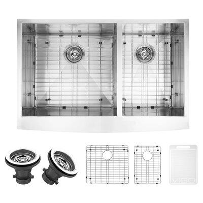 vigo chisholm 36   x 22   double basin farmhouse kitchen sink with sink grid  u0026 reviews   wayfair vigo chisholm 36   x 22   double basin farmhouse kitchen sink with      rh   wayfair com