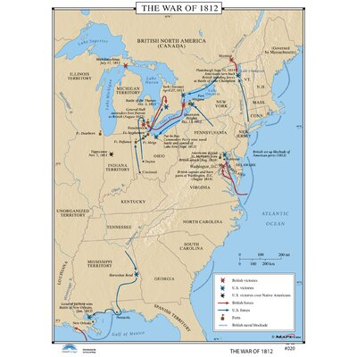 Universal Map US History Wall Maps War Of Reviews Wayfair - Map of us in 1812