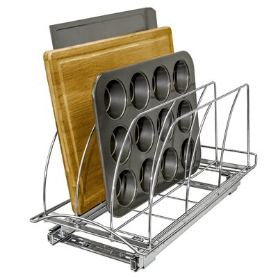 Lynk roll out cutting board bakeware and tray organizer for 21 inch deep kitchen cabinets