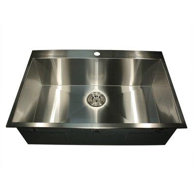 "Top Mount Stainless Steel Kitchen Sinks nantucket sinks pro series 33"" l x 22"" w rectangle single hole"
