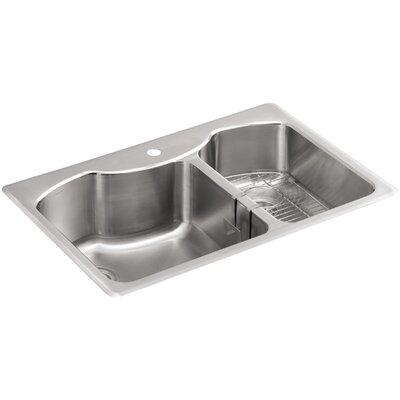 "Kohler Stainless Steel Kitchen Sinks kohler octave 33"" x 22"" x 9-5/16"" top-mount large/medium double"