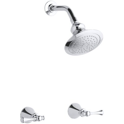 kohler revival shower faucet set with traditional lever handles and