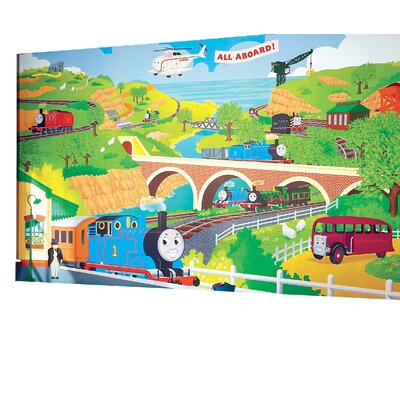 Room Mates Surestrip Thomas The Train Chair Rail Prepasted Wall Mural U0026  Reviews | Wayfair