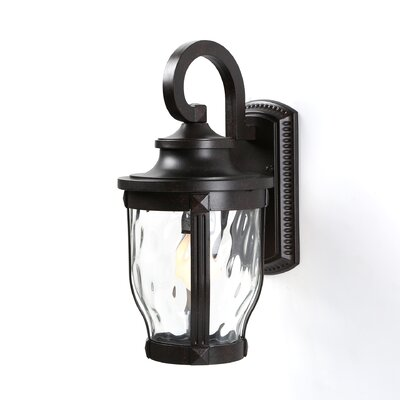 Three Posts Porterfield 1 Light Glass Shade Outdoor Wall Lantern Wayfair