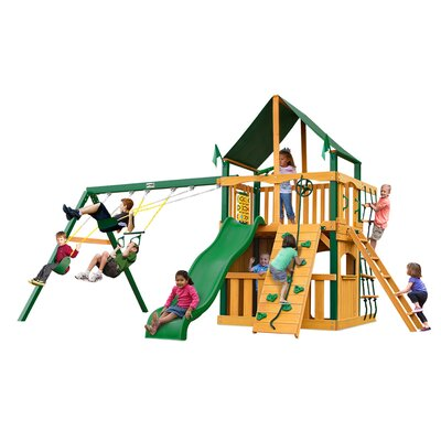 gorilla playsets chateau ii clubhouse with timber shield and canopy cedar swing set wayfair - Cedar Playsets