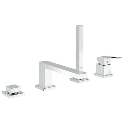 grohe eurocube single handle deck mount roman tub faucet with hand shower u0026 reviews wayfair