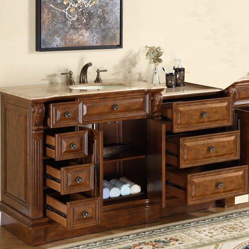 """58 Bathroom Vanity Single Sink: Silkroad Exclusive Charlotte 58"""" Single Bathroom Vanity"""