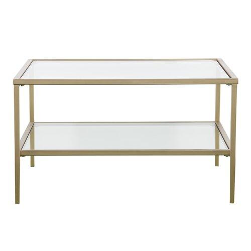 Red Barrel Studio Myron Square Metal Glass Open Shelf Coffee Table Reviews