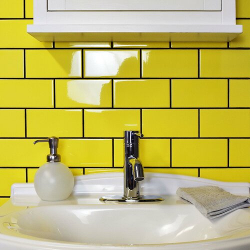prospect 3 x 6 ceramic subway tile in canary yellow by elitetile