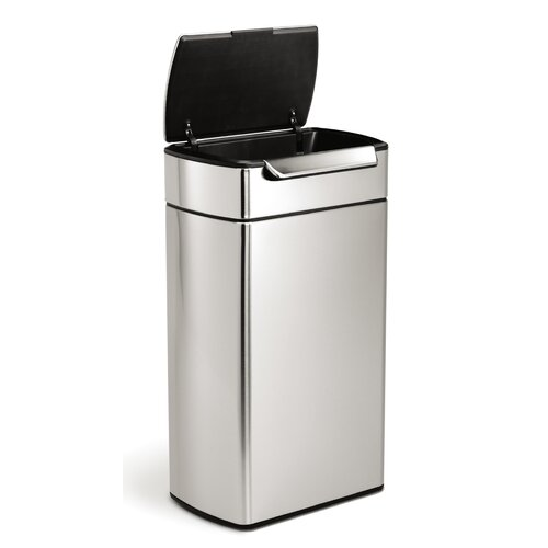 simplehuman 10 6 gallon touch top stainless steel trash can reviews wayfair. Black Bedroom Furniture Sets. Home Design Ideas