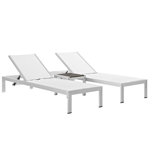 Modway shore outdoor patio 3 piece single chaise and table set reviews - Ensemble chaise table ...