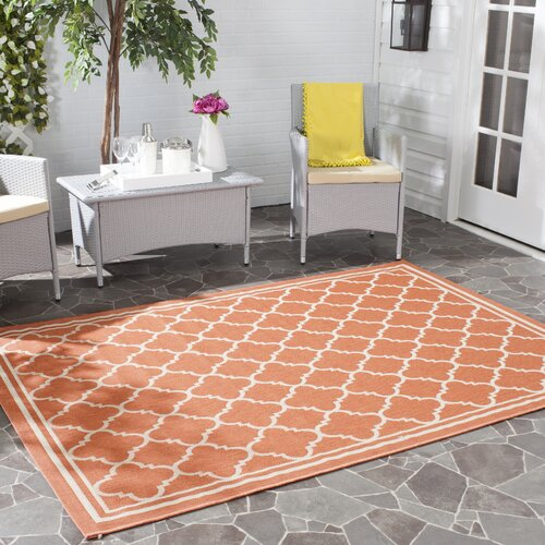 Courtyard Terracotta/Bone Indoor/Outdoor Area Rug