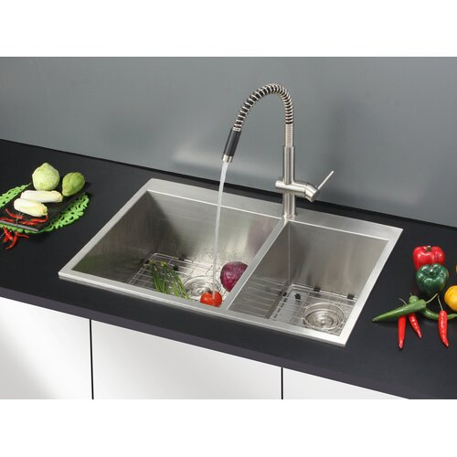 Ruvati Tirana 33 quot  x 22 quot  Drop in Double Bowl Kitchen Sink. Ruvati Tirana 33  x 22  Drop in Double Bowl Kitchen Sink   Reviews