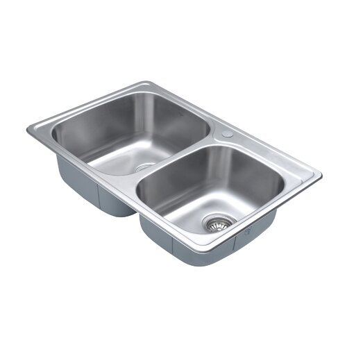 Kraus Stainless Steel 33 quot  x 22 quot  Double Basin Drop In. Kraus Stainless Steel 33  x 22  Double Basin Drop In Kitchen Sink