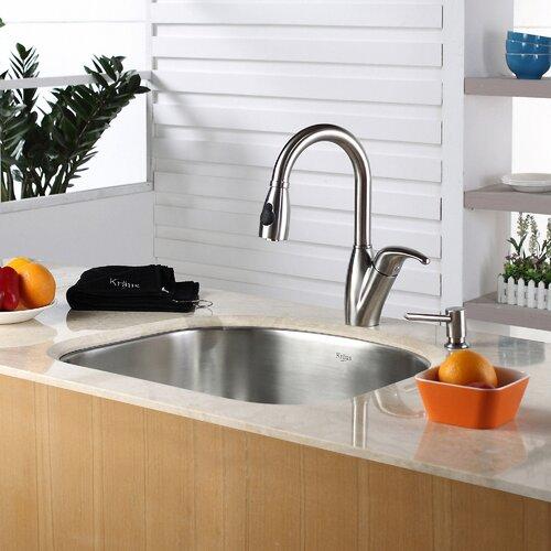 """Kitchen Sink Set: Kraus 23.25"""" X 20.88"""" Undermount Single Bowl 4 Piece"""