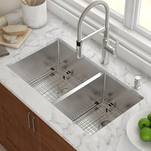 "Stainless Steel 32.75"" X 19"" Double Bowl Undermount Kitchen Sink"