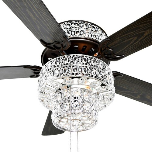 River Of Goods 52 Punched Metal Crystal 5 Blade Ceiling
