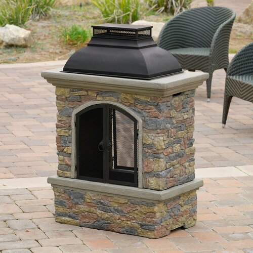 Home Loft Concepts Fresno Outdoor Natural Stone Chiminea