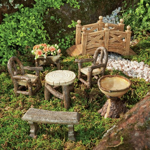 Plow And Hearth Furniture: Plow & Hearth 7 Piece Woodland Fairy Garden Resin