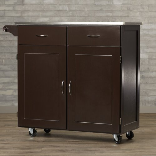 Stainless Steel Top Kitchen Island Counter Height Utility: Red Barrel Studio Riffe Large Kitchen Cart With Stainless