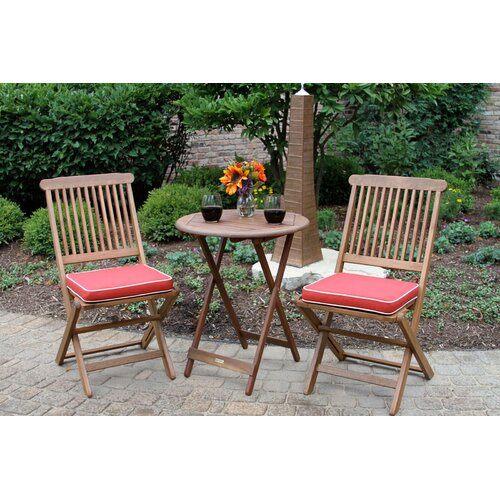 Sunny Isles Round 3 Piece Bistro Set with Cushion - Wood Patio Dining Sets You'll Love Wayfair