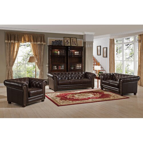 Amax Kensington Top Grain Leather Chesterfield Sofa, Loveseat, And