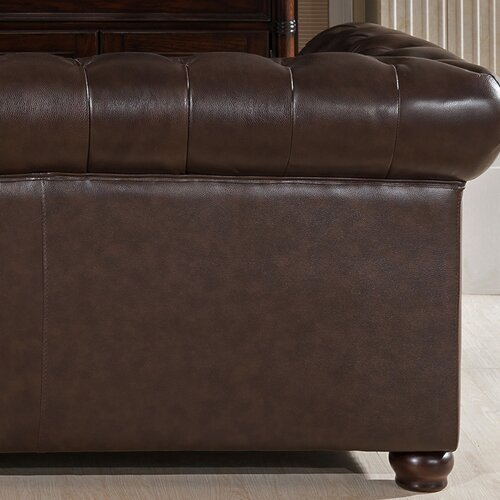 Amax Kensington Top Grain Chesterfield Leather Sofa & Reviews