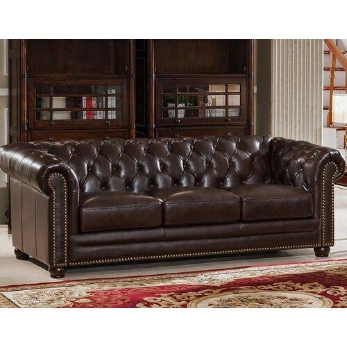 Amax Kensington Top Grain Chesterfield Leather Sofa & Reviews