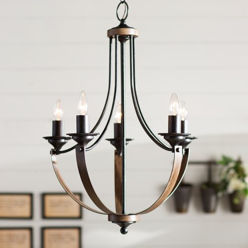 Laurel Foundry Modern Farmhouse Kenna 5 Light Mini Candle Style Chandelier &a