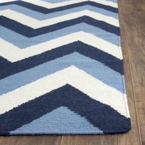 Nice Safavieh Dhurries Navy / Light Blue Chevron Area Rug