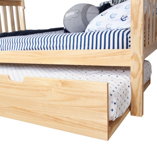max lily solid wood twin over full bunk bed with trundle bed