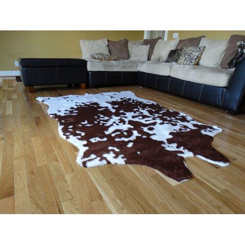 Acura Rugs Animal Hide Brown/White Cow Fur Area Rug