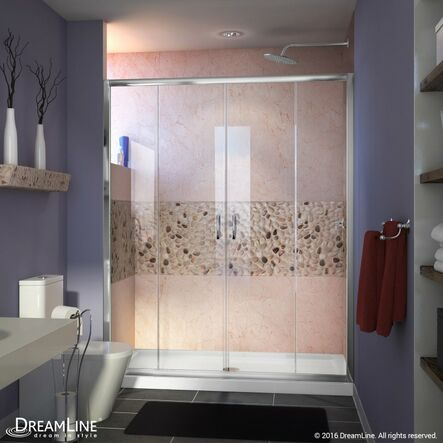 "Frameless Sliding Shower Doors dreamline visions 60"" x 72"" double sliding frameless shower door"