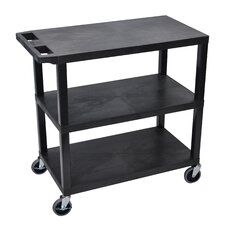 E Series Utility Cart with 3 Flat Shelves