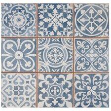 "Faventie Azul 13"" x 13"" Ceramic Patterned/Field Tile in Blue"