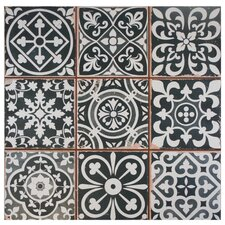 "Faventie Nero 13"" x 13"" Ceramic Field Tile in Black/White"