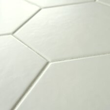 "Hexitile 7"" x 8"" Porcelain Mosaic Tile in Matte White"