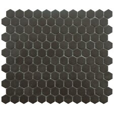 "New York Hexagon 0.875"" x 0.875"" Porcelain Unglazed Mosaic Tile in Antique Black"