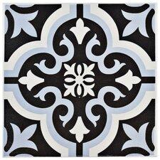 """Lima 7.75"""" x 7.75"""" Ceramic Field Tile in Blue/Black"""