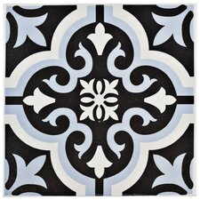 "Lima 7.75"" x 7.75"" Ceramic Patterned/Field Tile in Blue/Black"