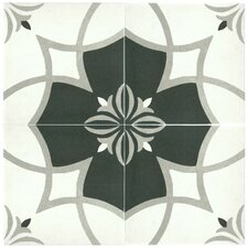 """Forties 7.75"""" x 7.75"""" Ceramic Patterned/Field Tile in White/Gray"""