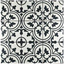 """Artea 9.75"""" x 9.75"""" Porcelain Patterned/Field Tile in White/Green"""