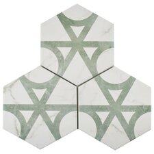"""Karra 7"""" X 8"""" Porcelain Patterned Tile in Gray/White"""