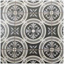 """Annata 9.75"""" x 9.75"""" Porcelain Patterned/Field Tile in White/Dark Gray"""