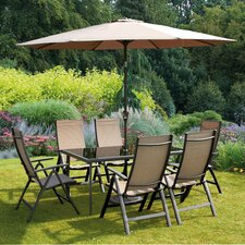 Sorrento 6 Seater Dining Set with Parasol