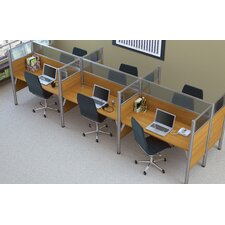 Pro-Biz Six-Straight Desk Workstation with 6 Privacy Panels (Per Workstation)