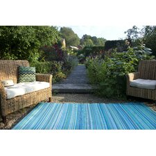 World Turquoise/Moss Green Cancun Stripe Indoor/Outdoor Area Rug