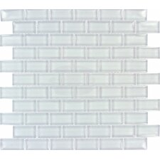 Crystallized 1'' x 2'' Glass Mosaic Tile in Arctic Ice White